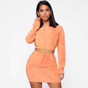 Orange Sherbert Tie Dye Skirt Set